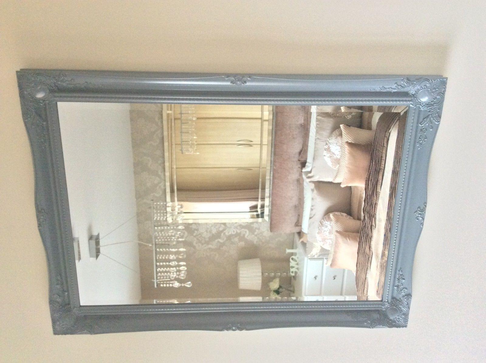 Large GREY Shabby Chic Ornate Decorative Wall Mirror FREE